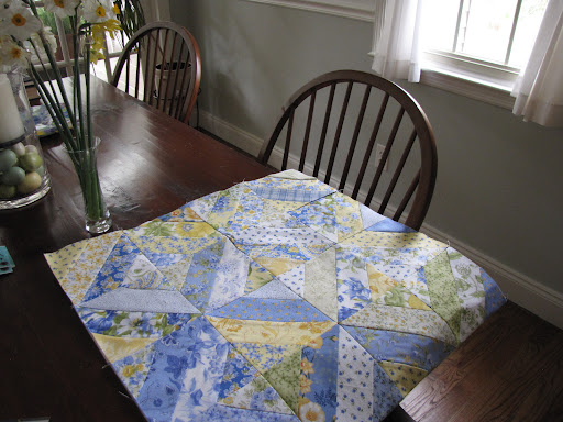 Piecing in progress in the dining room ...