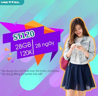 Nhận 28 GB Miễn phí Gói ST120 Viettel