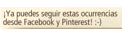 ¡Ya puedes seguir estas ocurrencias desde Facebook y Pinterest! :-)
