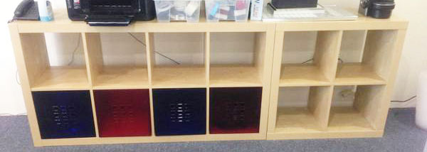 long birch wood cabinet with coloured drawers birch office furniture