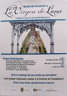 Cartel anunciador de la Noche de Serenatas a la Virgen de Luna. Foto: Pozoblanco News, las noticias y la actualidad de Pozoblanco (Córdoba)* www.pozoblanconews.blogspot.com