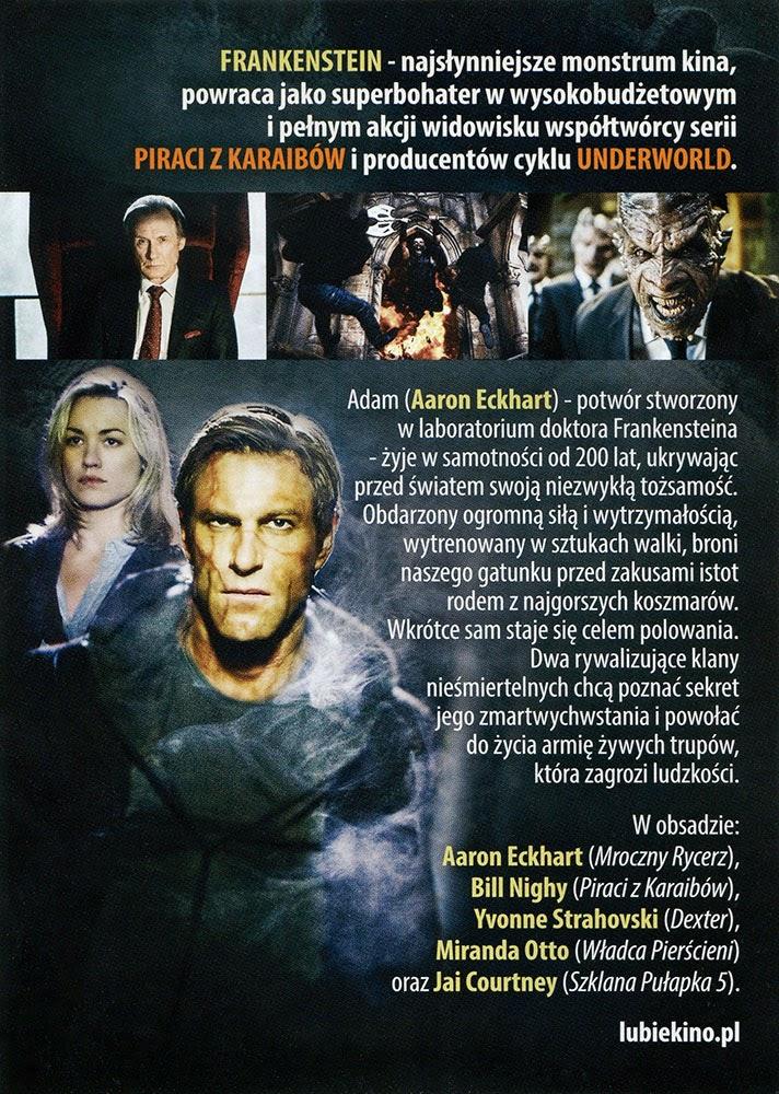 Ulotka filmu 'Ja, Frankenstein (tył)'
