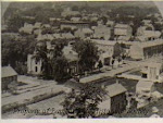 Birds eye view of town, circa 1890, from former 1845 5-story building at SE corner of Union and Coryell, later 5 & Dime site after fire.