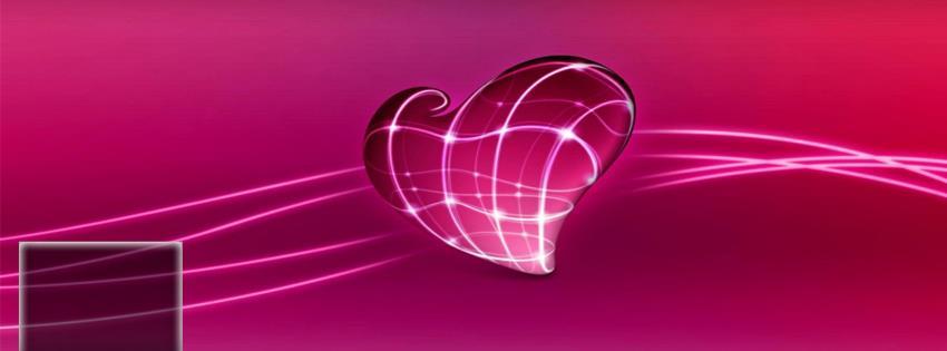 Ảnh bìa màu tím với trái tim đẹp