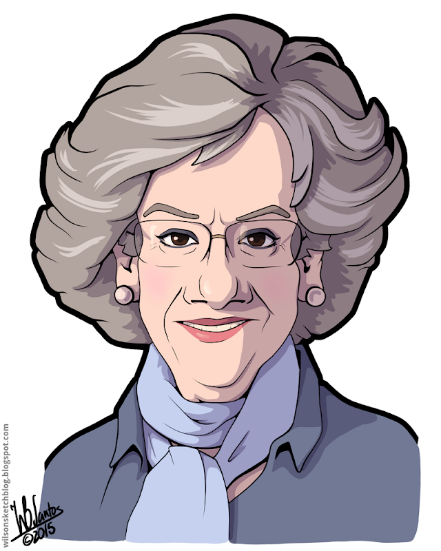 Cartoon caricature of Filipa Vacondeus.