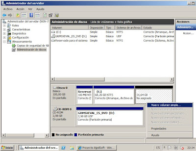 Crear y formatear partición en Windows Server 2008