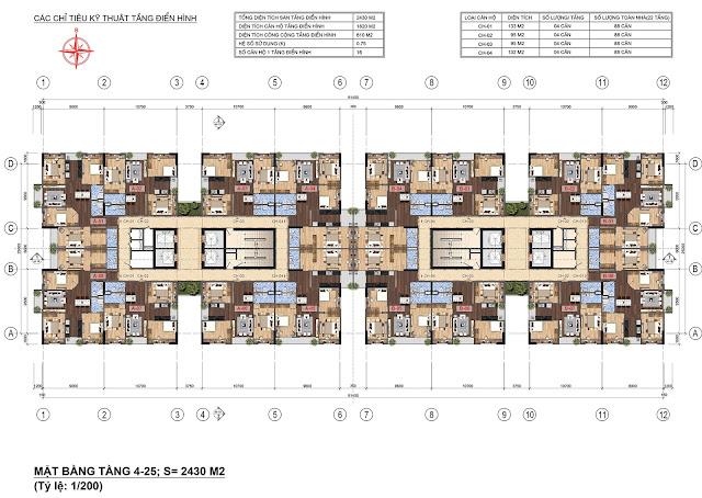 Mặt bằng điển hình tầng 4 - 25 Lạc Hồng Lotus 2