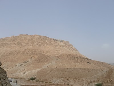Walking down the snake path at Mount Masada, Israel