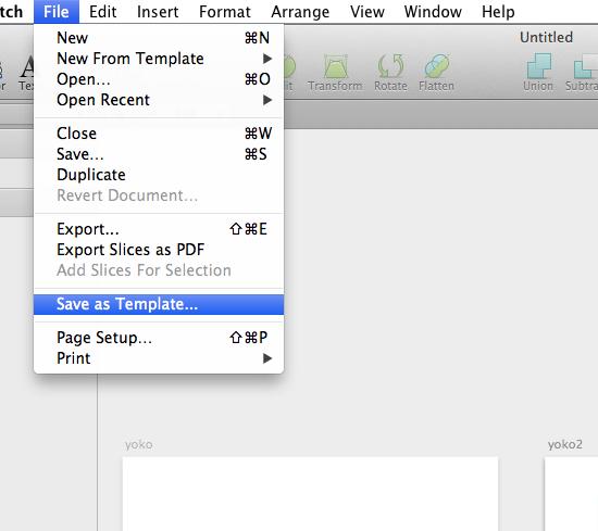 自作テンプレートの保存は、File → Save as Templateで保存します。