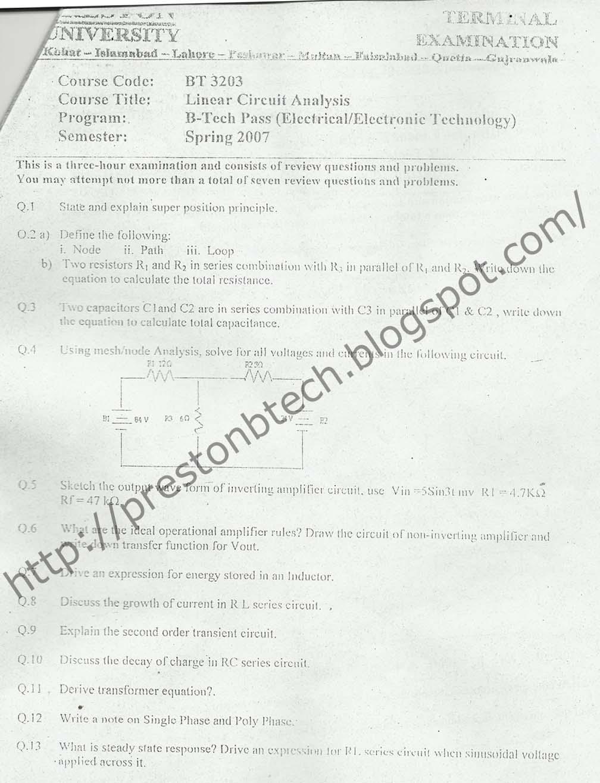 preston university b tech electronics electrical mechanical civil papers  linear circuit
