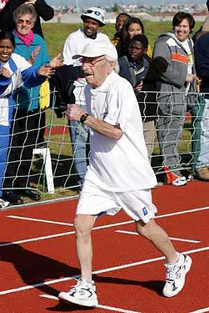 old person running