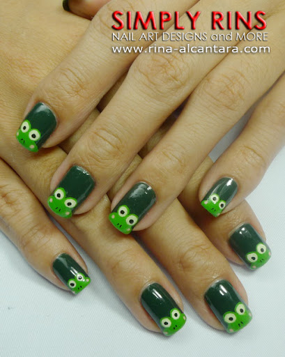 Frogs or Keroppi Wannabes Nail Art Design