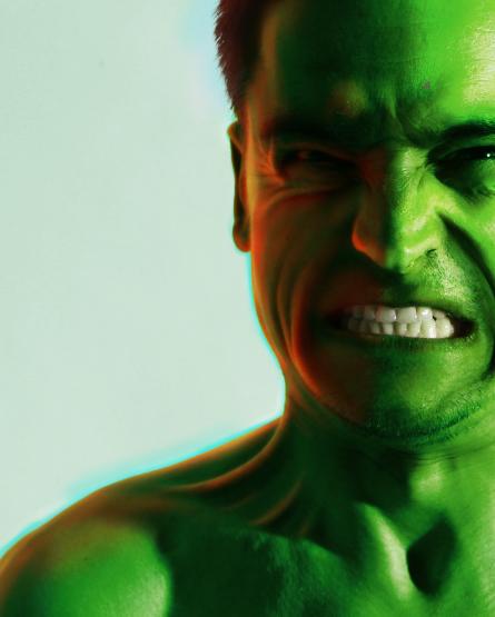 Iluminação do rosto do Hulk completada