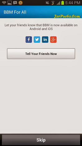 Halaman Pemberitahuan ke Sosial Network Pada BBM For Android