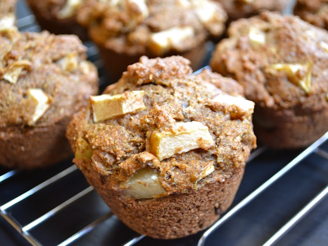 Apple Flax Muffins on cooling rack
