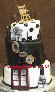 Custom mad hatter black and white fondant over the hill birthday cake with antiques and tombstones