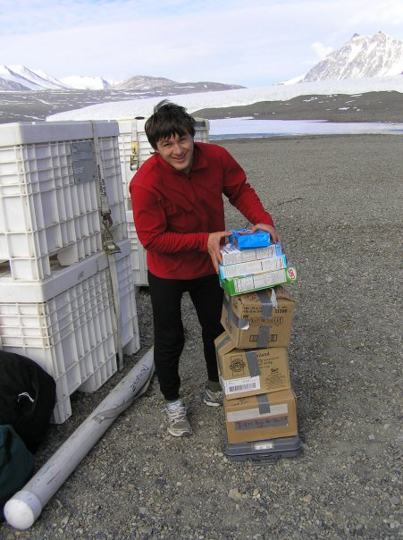 Alex Michaud packing field gear at Lake Fryxell camp, 2009-2010 season (photo by A. Chiuchiolo)