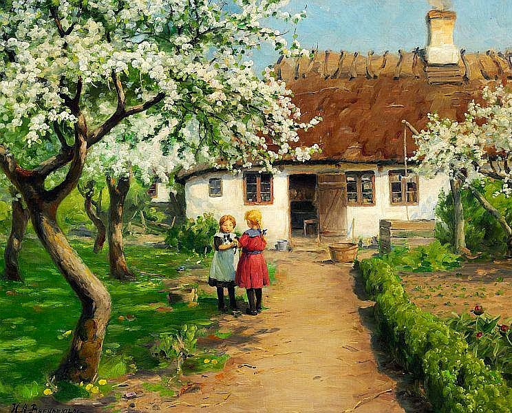 Hans Anderson Brendekilde - Two little girls in the garden with a kitten under a fruit tree in bloom