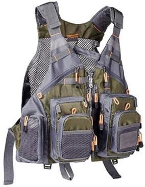 Bassdash Army Green Free Size Fly Fishing Mesh Vest.