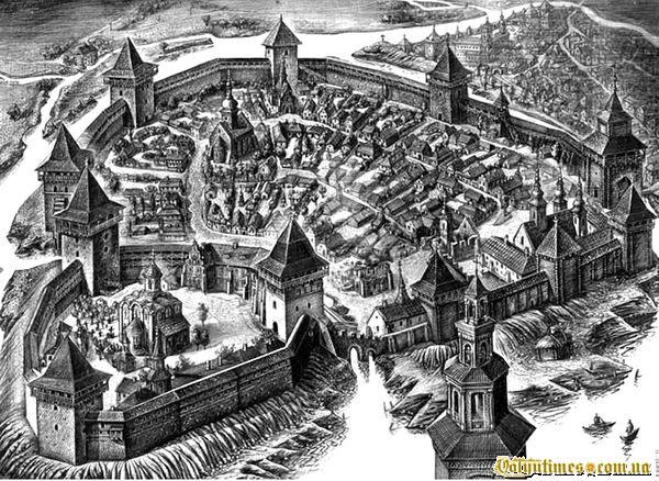 Гравюра О.Дишка з визначеню приблизною локалізацією історичних об'єктів.