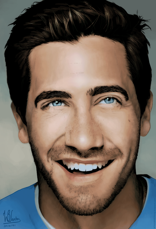 Colored ink drawing of Jake Gyllenhaal, using Krita 2.5.