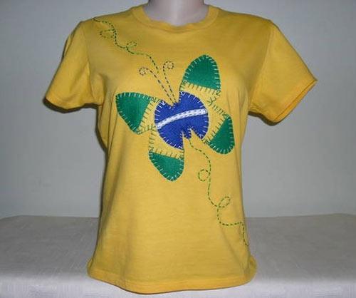 Inspiração Brasil - camiseta com borboleta bandeira do Brasil