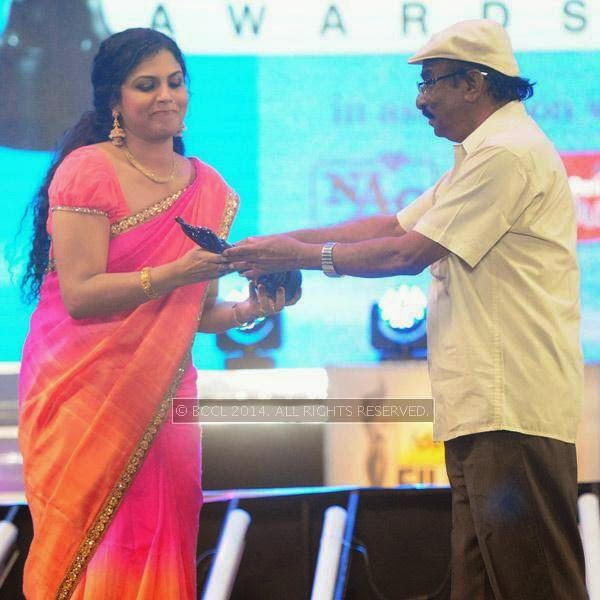 Asha Sarath won Best Supporting Actor award in Malayalam for the film 'Drishyam' during the 61st Filmfare Awards South, held at Jawaharlal Nehru Stadium in Chennai, on July 12, 2014.