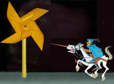 Don Quijote acometiendo a un molinete de juguete