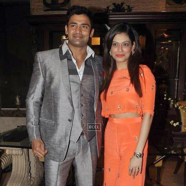 Sangram Singh poses with Payal Rohatgi birthday party, held at Churchgate, on July 20, 2014.(Pic: Viral Bhayani)