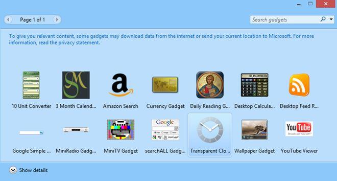 Mang tiện ích Gadget trở lại Windows 8
