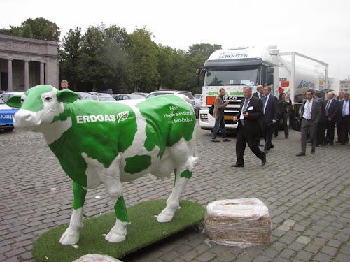 Biogazowa krówka w czasie wystawy pojazdów CNG i LNG w Brukseli