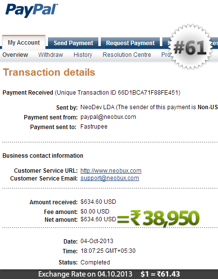 Neobux Payment Proof 61