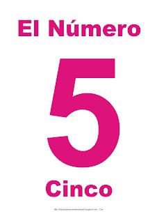 Lámina para imprimir el número cinco en color magenta