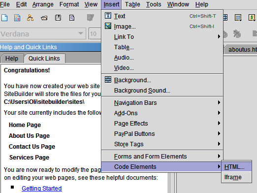 add form to yahoo site builder