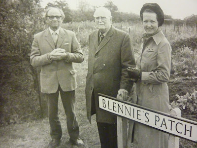 Mr Blennie Powell, Group Captain Latham  and Mrs Nicholls at the opening of the allotments in Blennie's Patch