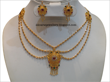 22 Carat Gold Antique Light Weight Necklace Sets Jewellery Designs