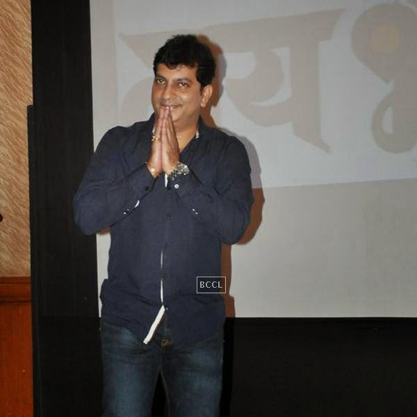 A guest gestures on his arrival at the success meet of Marathi movie Lai Bhaari, held at Orchid, on July 14, 2014.(Pic: Viral Bhayani)