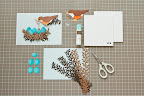 "For background cut a mat 4 ¾"" x 6 ¾"" from the light blue card stock. Prior to adhering, arrange all of the strips being used to make nest."