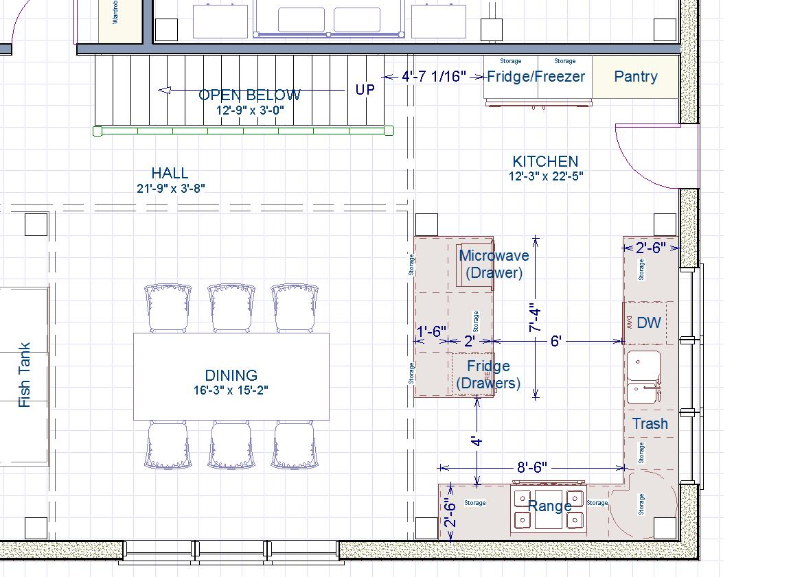 Please help with kitchen size and layout for Kitchen design 6 x 8