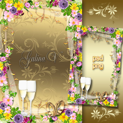 Рамка для фото - Пышная летняя свадьба