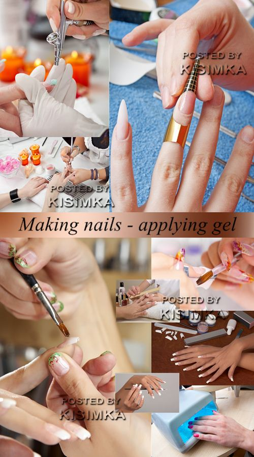 Stock Photo: Making nails - applying gel
