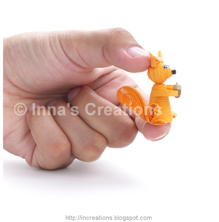 Inna S Creations Paper Quilling Miniature Squirrel
