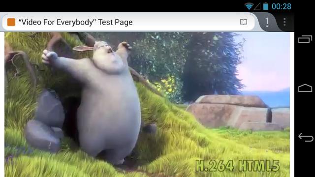 H.264 Big Buck Bunny ใน Firefox บน Android 4.2.1