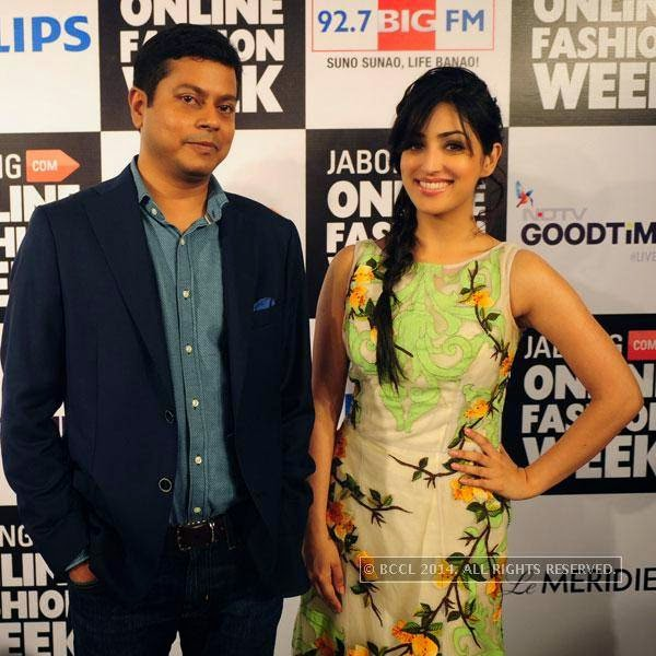Praveen Sinha and Yami Gautam during Jabong Online Fashion Week, held at Hotel Le Meridian, in Delhi, on July 30, 2014.