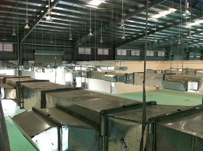 Hệ thống cáp treo, ống gió miệng gió lắp đặt tại nhà máy BOCSH