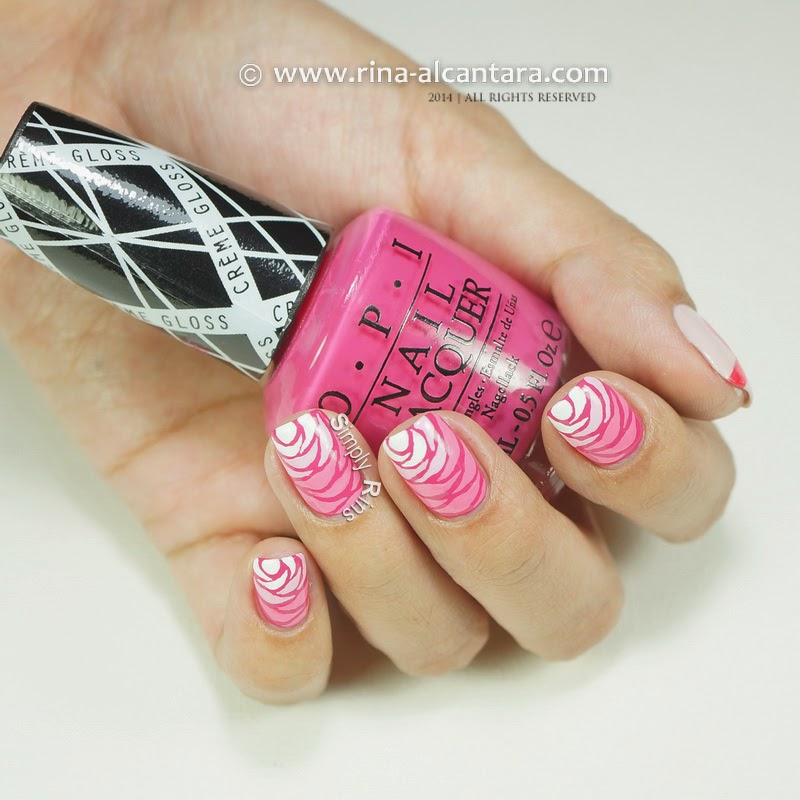 Breast Cancer Awareness Nail Art Design on OPI Hey Baby