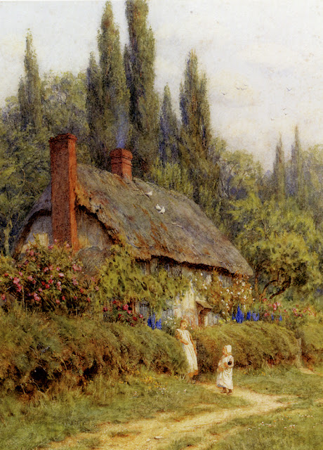 Helen Allingham - Children On A Path Outside A Thatched Cottage, West Horsley, Surrey