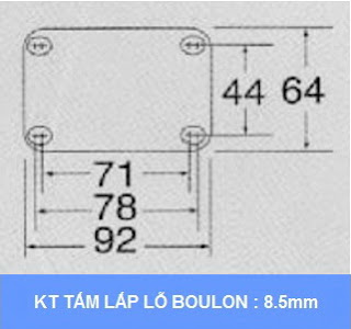 kích thước tấm lắp bộ khóa chân xe đẩy Colson Mỹ tổng chiều cao khi khóa 159mm | 6002x5