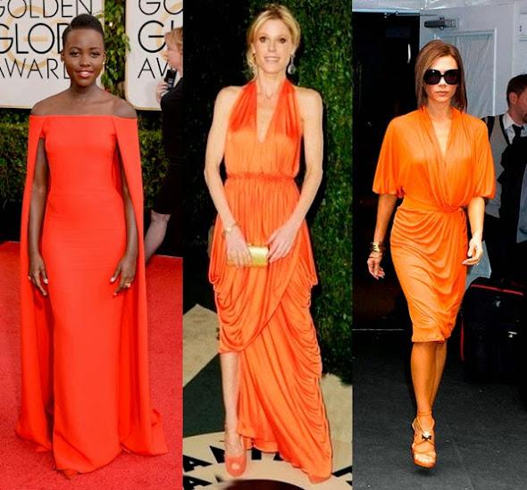 Vestido longo laranja claro