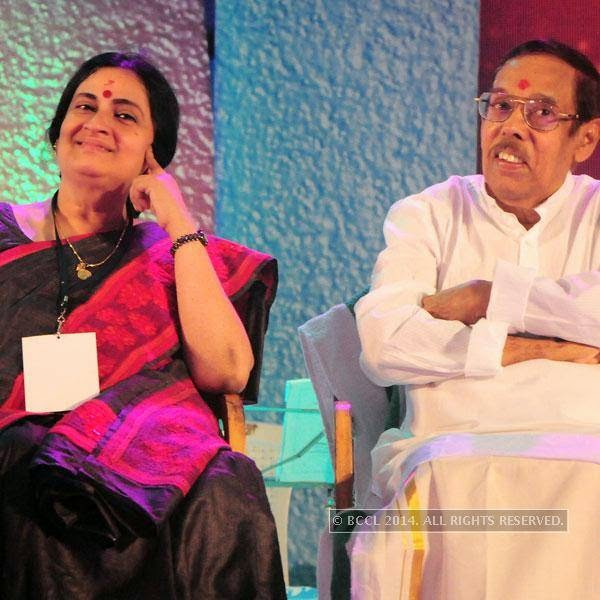 Lakshmi and Perumbavoor G Ravindranath during Ghanashyama Sandhya in Trivandrum.